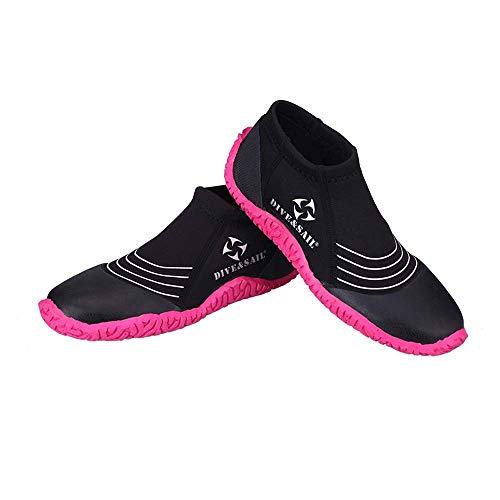 WHSS Zapatos de playa Zapatillas De Buceo 3MM, Hombres Y Mujeres, Resbalones De Surf En La Playa, Antipinchazos, Zapatos Aguas Arriba, Botas De Buceo Contra El Coral, Equipos De Pedales, Suela Rosa, N