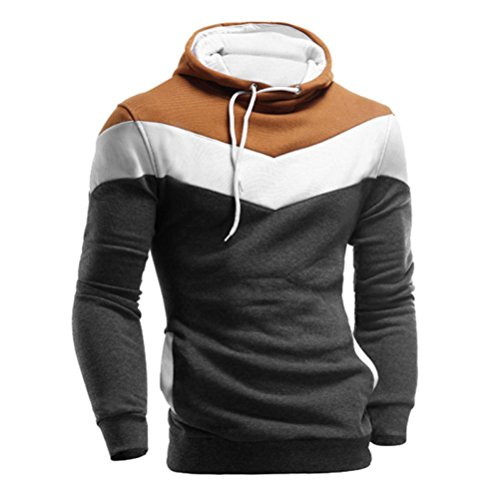 IMJONO Männer Retro Langarm-Kapuzenpullover mit Kapuze Sweatshirt Tops Jacke Mantel Outwear (EU-52/CN-3XL,Dunkelgrau)