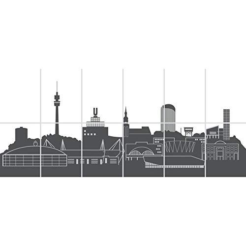 FoLIESEN Fliesenbild 15x20 cm - 90x40cm (BxH) - 12-TLG. - Fliesen-Folie Bad - Klebefolie Küche, Skyline Dortmund
