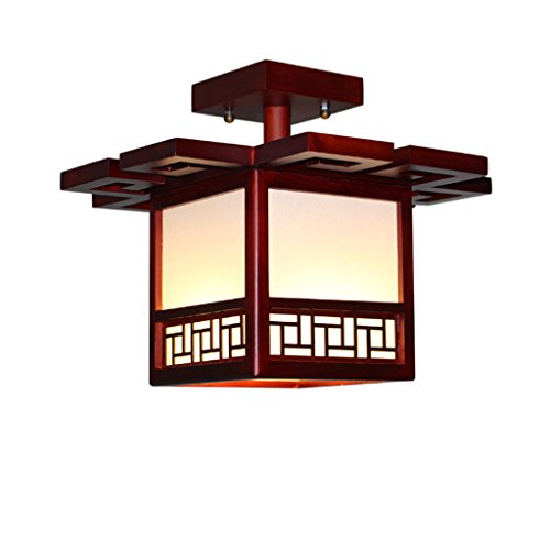 Ywyun Lampe de plafond en bois massif antique japonais, lampe de plafond économie d'énergie moderne chambre minimaliste LED carré allée