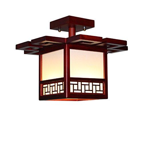 Ywyun Lámpara de techo de madera sólida antigua japonesa, lámpara de techo ahorro de energía moderna minimalista del dormitorio cuadrado del pasillo del LED