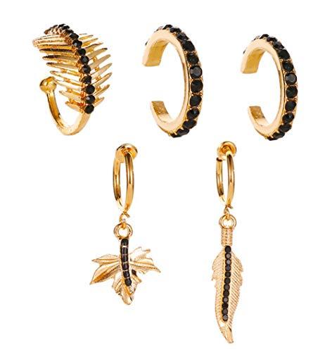 NIDEZHI Bohemia Golden Tone Ear Cuff Earrings Ear Circle Clip On Cartilage Earring Huggie Ear Clip Ear Bone Clip Jewelry