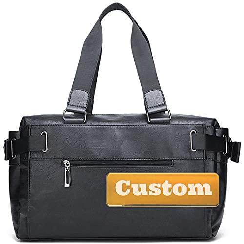 Nombre Personalizado Viaje DE CUERCO Duffel Bag Fin DE Semana Viaje Viaje para Mujeres (Color : Black, Size : One Size)