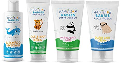 Hamilton Babies Bundle of Miracle Newborn Essentials; Contains Baby Shampoo/Body Wash, Face & Body Lotion, Soothing Booty Balm, and Diaper Rash Cream