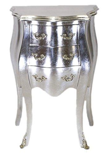 Casa Padrino Barock Kommode Silber H 70 cm, B 50 cm - Nachttisch Schrank mit 3 Schubladen