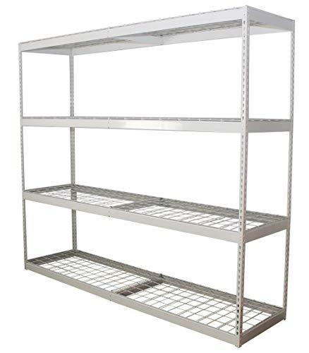 SafeRacks Garage Shelving - White Bolted Shelving Rack - 500 Pounds Per Shelf High Grade Steel (White, 24'x92'x84')