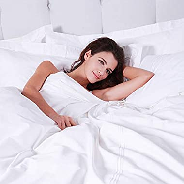 Luxury White Flat Sheet - King Size Bedding Flat Sheet Only Sold Separately Cotton Hotel Quality Top Sheet for All Season,Sof
