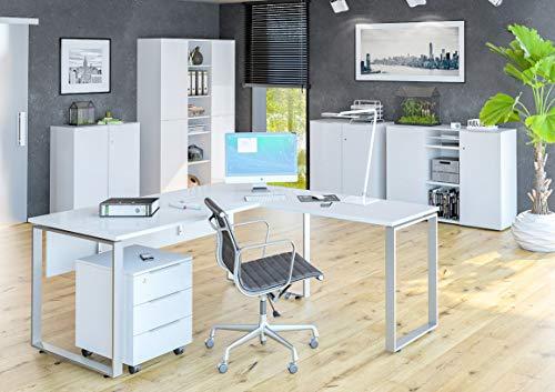 Moebel-dich-auf.de Maja TRENDO - Juego de muebles de oficina (cristal), color blanco mate