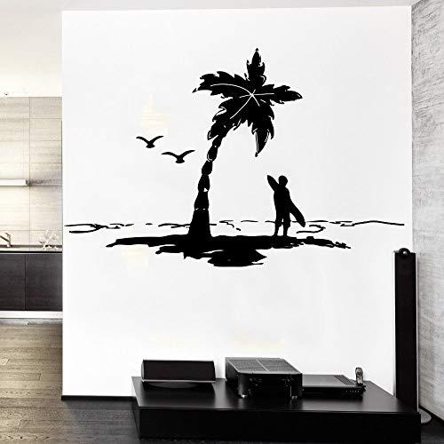 Ocean Sea P lams Con Sea Gulls Surfer con tabla de surf Silueta Cool Etiqueta de la pared Aer Design Home Room Decor Vinilo Mural 56 * 56 cm