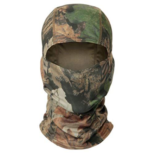 QMFIVE Pasamontañas Máscara Camuflage Cara Completa Militar Táctico Capucha De Ninja Caza Ciclismo Máscara Camuflaje (Leaf)