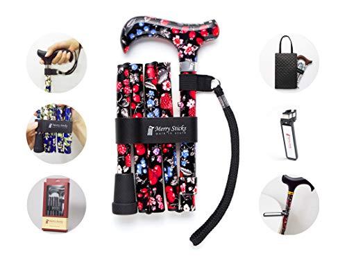 Merry Sticks, bastón Plegable Ajustable de diseño, Bayas, Incluye una práctica Bolsa para su bastón y un Soporte para Bastones Reflectante Inteligente 🔥