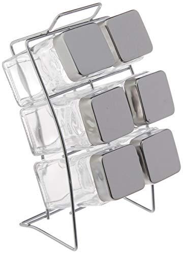 Porta Condimentos Square com Suporte 6 Peças Euro Transparente
