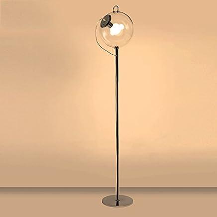 Floor lamp.. ASL Glas Ball Eisen Wohnzimmer Boden Lampe Kunst Kreative Pers�nlichkeit Einfache Moderne Studie Schlafzimmer Lichter einzigen Kopf E27 Kredit (Farbe : #1)
