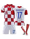 17# Mandzukic,Camiseta Manga Corta para Hombre, Traje Deportivo, Traje Entrenamiento fútbol, Camiseta la Copa Mundial Croacia,Disfraz equipo para adultos y niños, calcetines cortos manga corta
