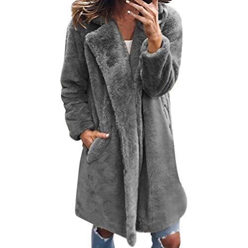 Geilisungren Damen Winter Mantel Warm Kunstfell Jacke Lang Kunstpelz Felljacke Flauschiges Faux Fur Coat Frauen Elegant Revers Einfarbige Winterjacke Große Größen Taschen Parka Outwear