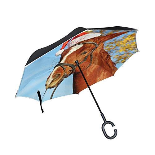 Paard met kerstmuts omkeerbare paraplu dubbellaags omkeerscherm met C-vormige greep UV-bescherming winddichte paraplu voor auto