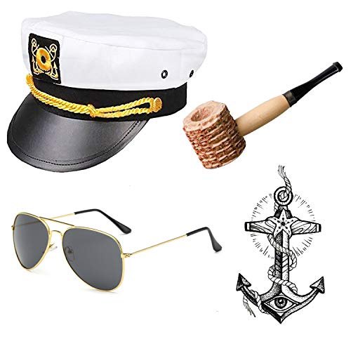 Yacht Captain & Sailor Costume Accessories Set - Hat,Corn Cob Pipe,Aviator Sunglasses,Vintage Anchor Temporary Tattoo (OneSize, C1)