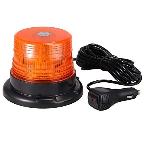EyPiNS Rotativo Luz LED Estroboscópica, 40LED Luz Led Giratoria con Imán, 40W Faro Intermitente de Advertencia de Emergencia con Base Magnética para camión, Tractor 12V/24V (Ámbar) | E57 IP67