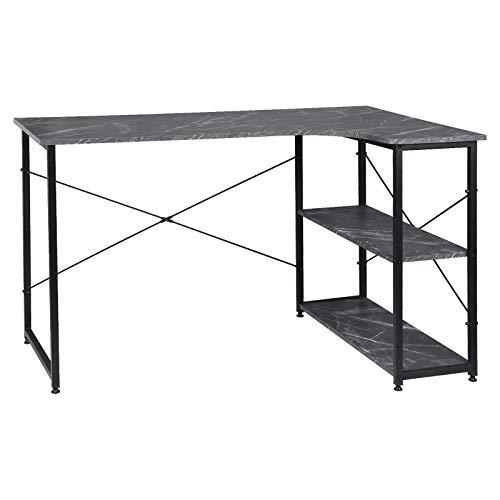 EUGAD 0085ZZ Schreibtisch Computertisch PC-Tisch Bürotisch Arbeitstisch mit Bücherregal 120x74x71,5 cm Schwarz Marmor