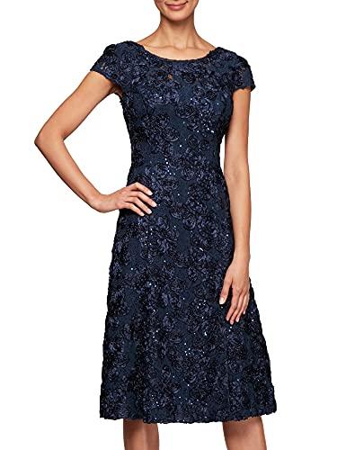Alex Evenings Women's Tea Length Dress with Rosette Detail (Petite and Regular), Navy, 14