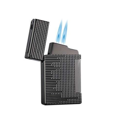 Promise by Honest Briquet tempête à gaz avec double jet flamme Briquet rechargeable avec perce-cigare