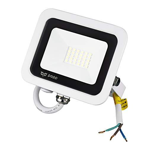 POPP Foco Proyector LED 20W para uso Exterior Iluminación Decoración 6000K luz fria Impermeable IP65 Blanco transparente y Resistente al agua.PACK x2 (20)