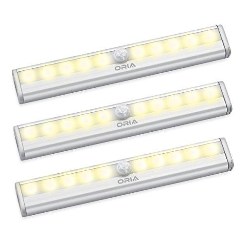 Preisvergleich Produktbild ORIA Schrankbeleuchtung Licht,  3er Pack Nachtlicht mit Bewegungsmelder Sensor Schrank Licht,  Schranklampe mit 10 LED und Magnetstreifen,  Auto ON / OFF Licht,  ideal für Küche,  Korridor - Gelb