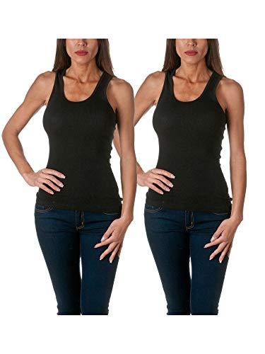 Sofra camiseta sin mangas para mujer de algodón acanalado, L