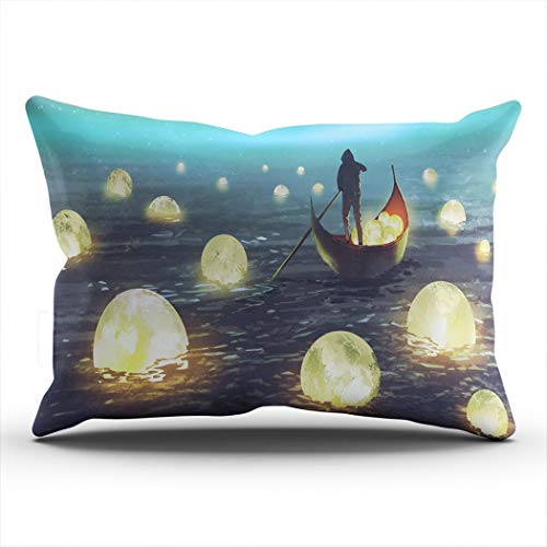 CENYUO Pillowcase Night a Man Rowing a Boat Among Moons Floating on The sea Decorative Pillow Case Throw Pillows Cushion Cover King 20x36 Inch for Home Decor Sofa Bedroom