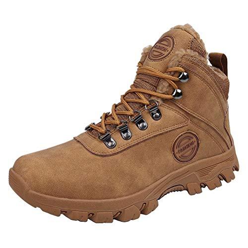 Bottes de Neige Homme Bottes Hiver Imperméable Chaudes Chaussures Trekking Bottes de Randonnéé Kaki 44