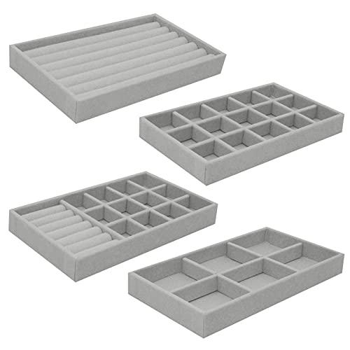 Schmuckaufbewahrungs-Tabletts aus Samt, 4 Stück, stapelbare Schmucktabletts für Schublade, Ohrringe, Halsketten, Armbänder, Ringe (grau)