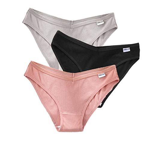 Bwer Ropa Interior para Mujer, Ropa Interior Sexy, Material de algodón, Cintura Baja para Mujer, Ropa Interior para Mujer con división Alta, lencería de Talla Grande, 3 PZ/Set