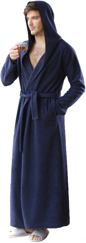 LIVEINU Unisex Plush Fleece Hooded Full Long Bathrobe Housecoat Terry Robe