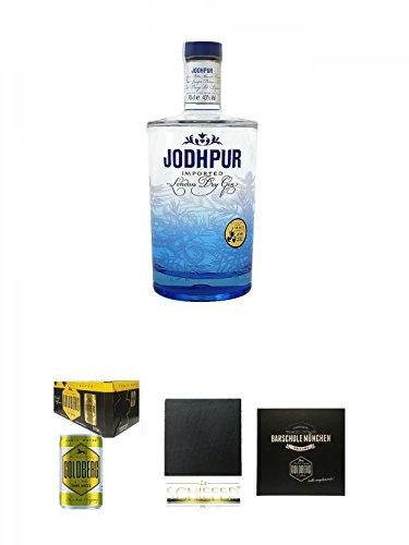 Jodhpur Premium London Dry Gin England 0,7 Liter + Goldberg Tonic Water DOSE 8 x 0,15 Liter Karton + Schiefer Glasuntersetzer eckig ca. 9,5 cm Durchmesser + Barschule München Buch