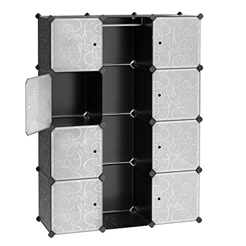 Songmics Armario ropero Estantería modular Plástico PP con barra para colgar ropa...