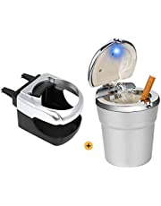 Kitchen-dream Cenicero coche LED, Portavasos de cenicero, cenicero portátil para automóvil con tapa, cenicero de cigarrillo desmontable para oficina doméstica de viaje (plateado)