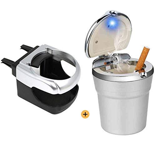 Kitchen-dream Auto Aschenbecher, Entlüftungshalter Tragbarer Auto-Aschenbecher mit Deckel und LED, abnehmbarer Aschenbecher für die Reise Aschenbecher Cup Holder für Getränke Telefon (Silber)