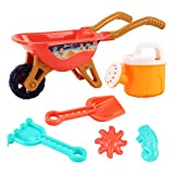 Kisangel 6Pcs Kids Wheelbarrow Gardening and Seaside Beach Play Set Children Beach Sand Playing Toys for Outdoor Activities with Accessories Including Bucket, Rake