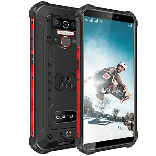 Outdoor Handy, OUKITEL WP5 PRO (2021) 4GB + 64GB 8000mAh Akku,5.5 Zoll IP68 Robustes Handy,Android 10,Triple Kamera 4 LED Blitzlicht,Face/Fingerprint ID/Dual SIM Smartphone Wasserdicht(Schwarz)