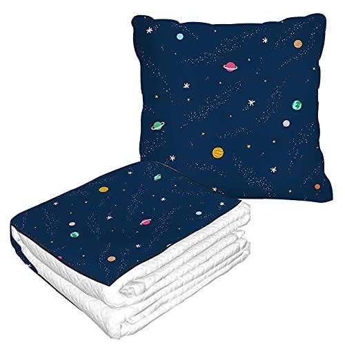 Planet Reisedecke und Kissen 2 in 1 Premium Soft Flanell Kompakt Pack Große Decke für Reisen Erde Welt Stern Kreis Punkt Weltraum Globus Galaxie Geometrisch Gepunktet Rund