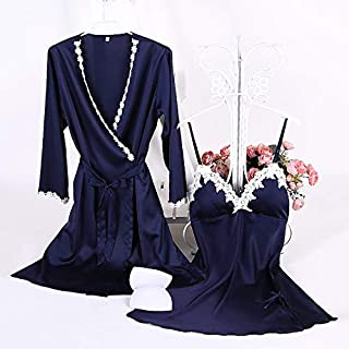 2 In 1 Ladies Cotton Trim Silk Sling Pajamas + Nightgown Set with Chest Pad High Quality (Color : Dark Blue, Size : L)
