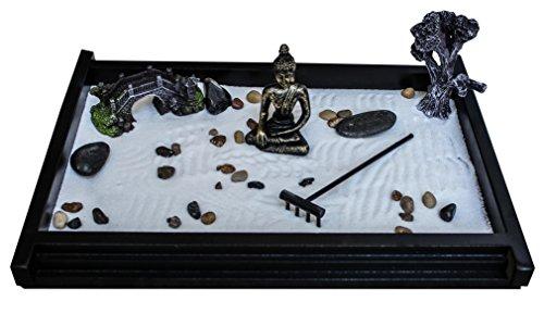 Royal Brands Zen Garden Deluxe - Figura de Jardín de Meditación, Tamaño Extragrande, Diseño de Buda y Puente, 2 Bolsas de Arena Incluidas