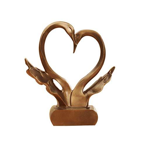 Swan Forme Sculpture Pour Ornement De Mariage Amour Artisanat Salon Etude TV Cabinet Imitation Cuivre Style Européen Rollsnownow