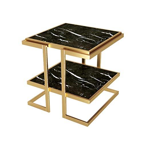 SZQ-Table Basse Table De Marbre, Double Couche En Fer Or Art Carré Décoration De Table Salon Balcon En Plein Air Restaurant Table Basse Table de sofa (Color : Black)
