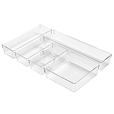 InterDesign Kitchen Drawer Organizer – Storage Trays for Utensils, Gadgets - 6 Piece Set, Clear