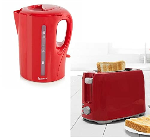Elex® RED Kettle 1.7L Cordless 2200W 2.2KW Electric Kettle + 2 Slice Toaster Set