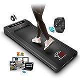 YM Tapis De Course Pliable Electrique Walking Pad, App KINOMAP et ZWIFT Bluetooth, Contrôleur de Montre à Télécommande d'Horloge, Professionnelle Pour la Maison et le Bureau 1,5HP (Peak 2,5HP)