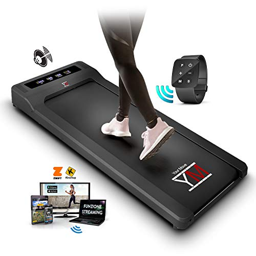 YM Tapis De Course Pliable Electrique Walking Pad, App KINOMAP et ZWIFT Bluetooth, Contrôleur de Montre à Télécommande d