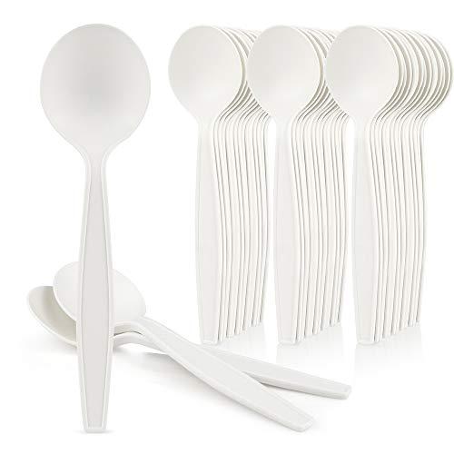 [50 Pack] HeloGreen Eco-Friendly Cornstarch 6 Disposable Soup Spoons: Heavyweight Heavy Duty Elegant Alternative to Plastic Spoons, Plasticware Utensils Cutlery, Ivory