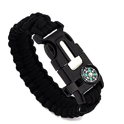 "1Pcs 9"" Multifunctional Paracord Bracelet Sahara Sailor Outdoor Survival Kit W Compass Flint Fire Starter Scraper Whistle For Hiking Camping Emergency More"